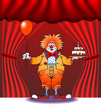 birthday greeting card with clown, vector illustration Vector