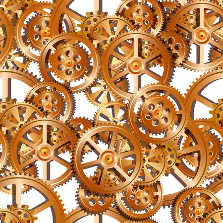 serrated: gears on a white background, seamless pattern vector illustration