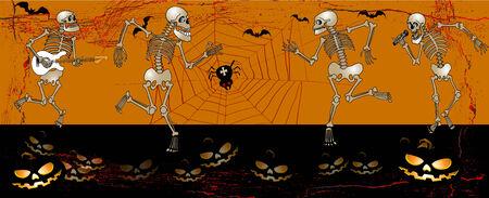 measures: halloween greeting card with skeleton illustration Illustration