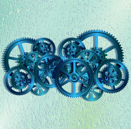 steel gears on white background Vektorové ilustrace