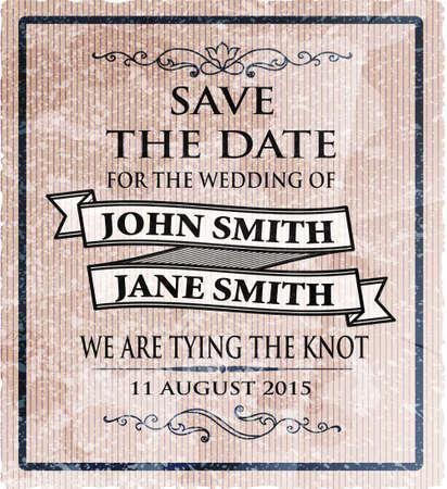 vintage invitation or wedding card, vector illustration Vector