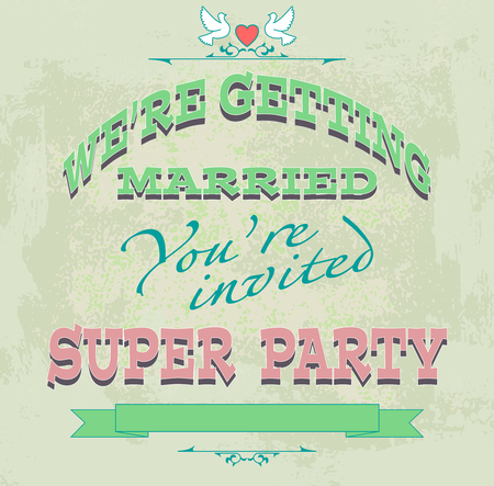 getting married: we are getting married, invitation or wedding card, vector illustration