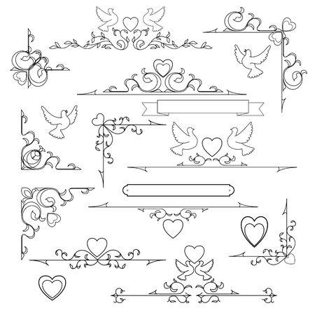 set of vintage wedding elements, vector illustration Vector