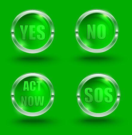 glass buttons: glass buttons set, vector illustration Illustration