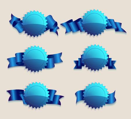 cordon: Set of glass badges with ribbon, illustration clip-art Illustration