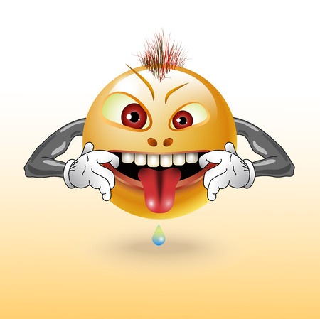 wicked set: The malicious smiling shows tongue, illustration clip-art Illustration