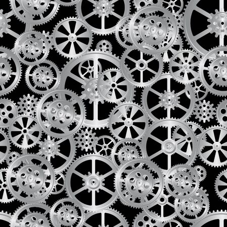 time drive: steel gears on a black background, seamless pattern vector illustration