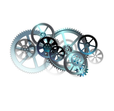 midnight hour: gears on the white background illustration clip-art