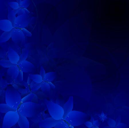 noche y luna: ilustración de fondo flores de noche