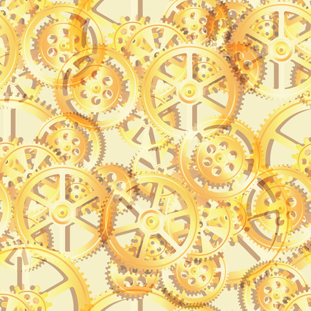 midnight time: golden gears on a yellow background, seamless pattern vector illustration