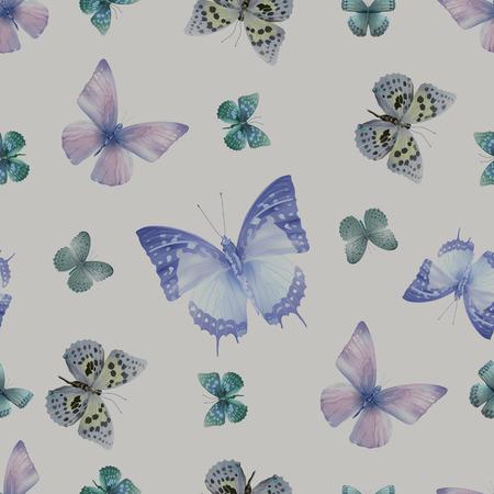 lith: Seamless pattern from butterflies, vector illustration, clip-art