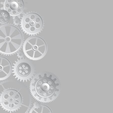 midnight time: steel gears on gray  background, vector illustration