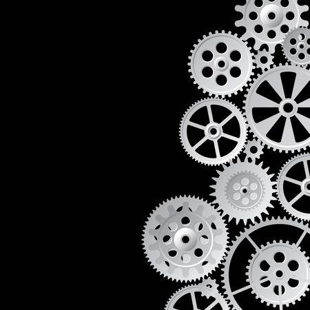 time drive: gray gears on black  background, vector illustration Illustration