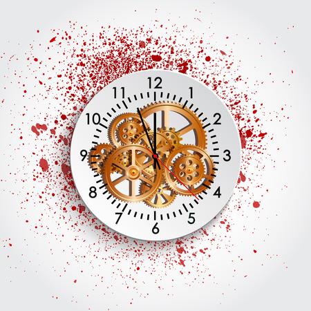 meccanismo di tempo orologio e macchia, illustrazione vettoriale,