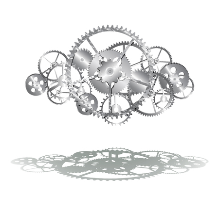 gearing: steel gears on the white background illustration clip-art Illustration