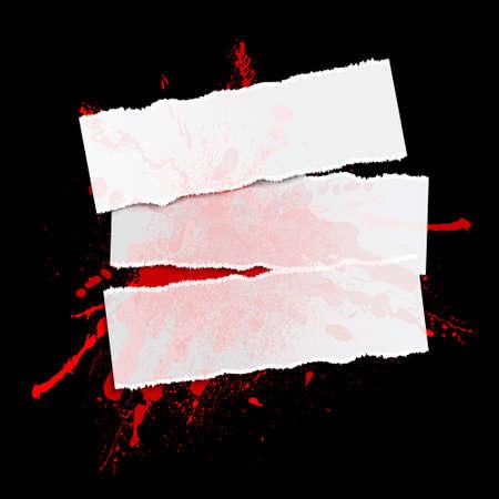 rad blot and paper on a black background, illustration clip-art