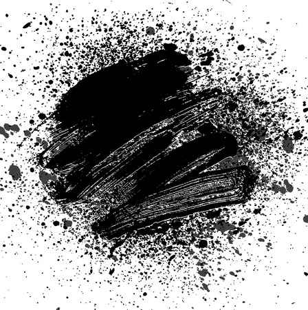 smudge: smudge and smear a black brush on white background, illustration clip-art Illustration