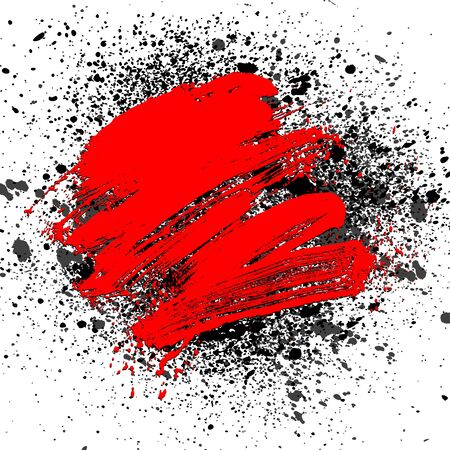 smudge: smudge and smear a rad brush on white background, illustration clip-art