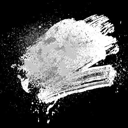 smudge: smudge and smear a white brush on black background, illustration clip-art