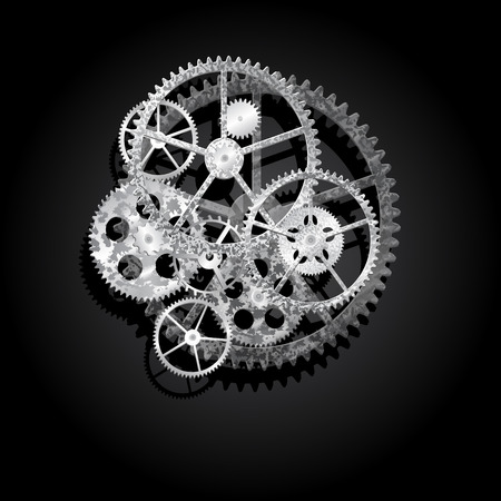 steel gears on a black background, vector illustration clip-art Illustration
