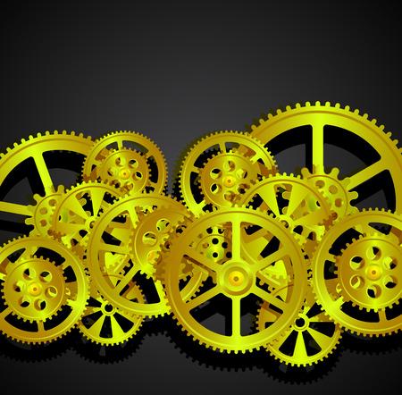 goldenl gears on a black background, vector illustration clip-art