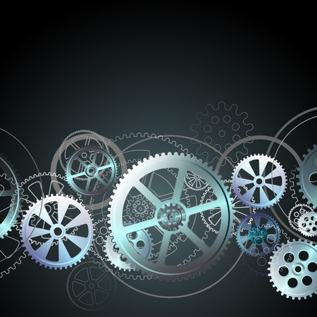 steel gears on a black background, vector illustration clip-art Çizim