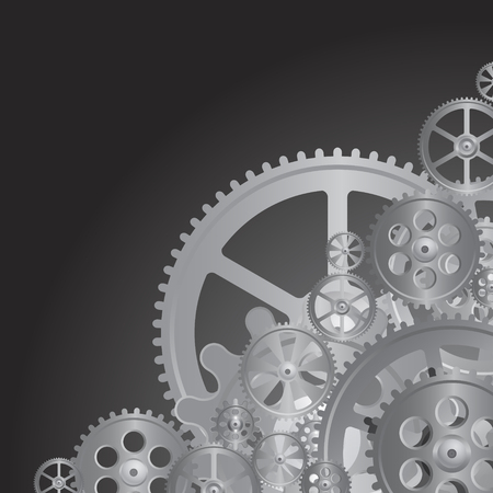 black gears on the black background, vector illustration, clip-art