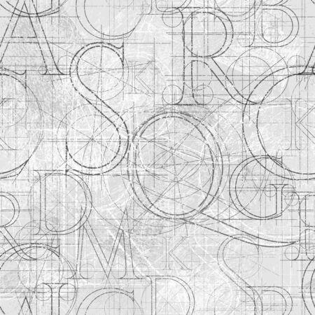 Lettertype grunge naadloze patroon