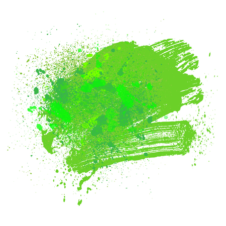 smudge: smudge and smear a green brush on a white background, illustration clip-art Illustration