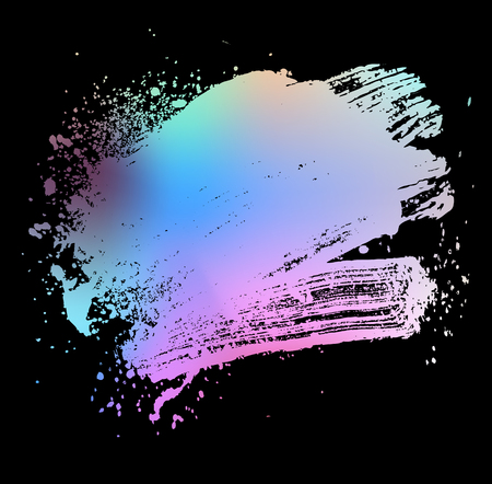 smudge and smear a colored brush on a black background, illustration clip-art
