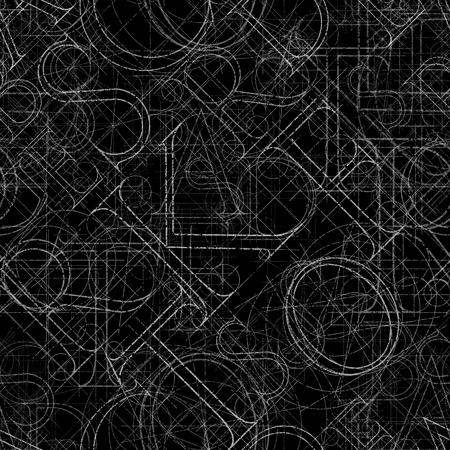 single word: Font seamless pattern on a black background, vector illustratuon clip-art