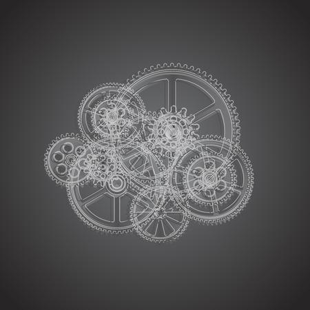 Tekentoestellen op een zwarte achtergrond, vectorillustratie clip-art Stock Illustratie