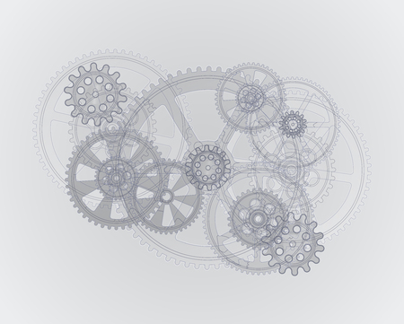 Drawing gears on a gray background, vector illustration clip-art Vettoriali