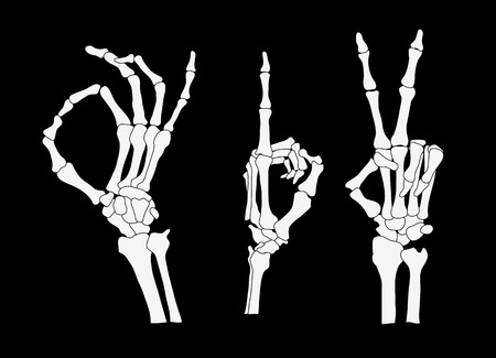 Set van skelet handen, vector illustratie clip-art Stock Illustratie