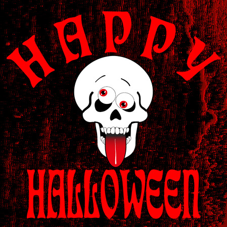 celebrate: halloween greeting card with skull, vector illustration Illustration
