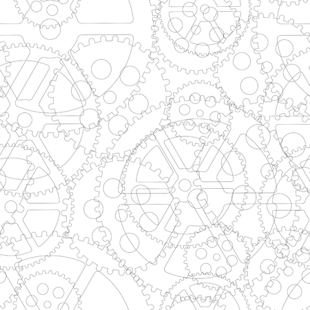 White gears on a white background, seamless pattern vector illustration. Çizim