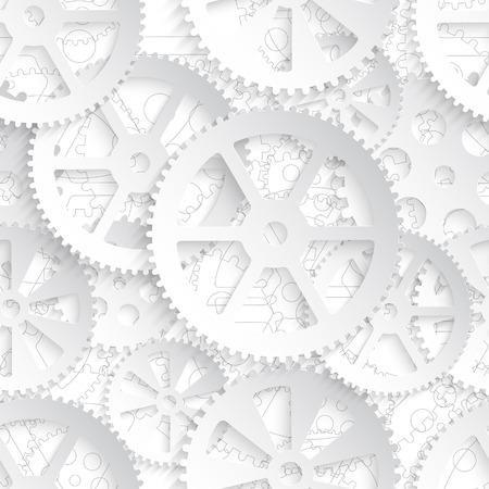 흰색 배경, 원활한 패턴 벡터 일러스트 레이 션에 흰색 기어. 일러스트
