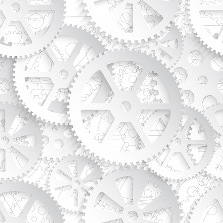 White gears on a white background, seamless pattern vector illustration. Ilustrace