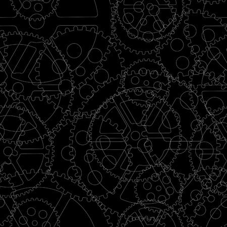 검은 배경, 원활한 패턴 벡터 일러스트 레이 션에 검은 기어.