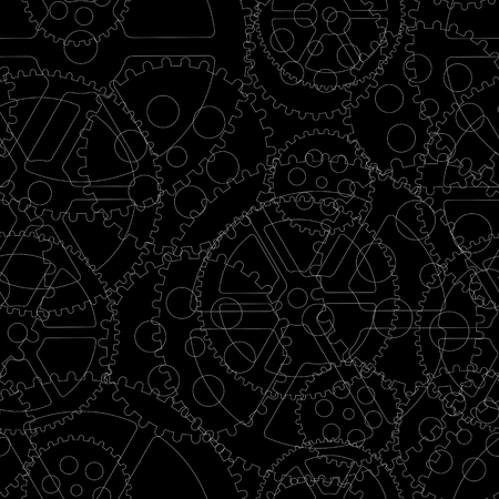 Black gears on a black background, seamless pattern vector illustration. 向量圖像