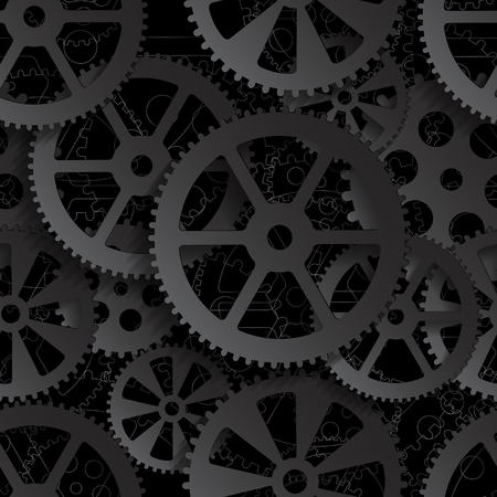 Black gears on a black background, seamless pattern vector illustration. Çizim