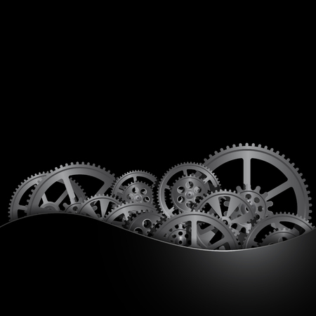 steel gears on a black background, vector illustration clip-art Vectores