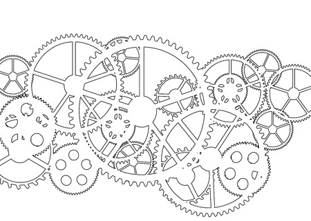 White gears on a white background, vector illustration.