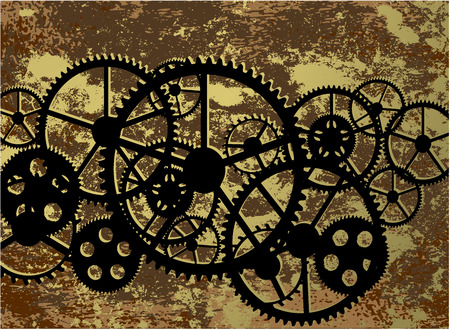 Dirty background with a clockwork, illustration clip-art. Çizim