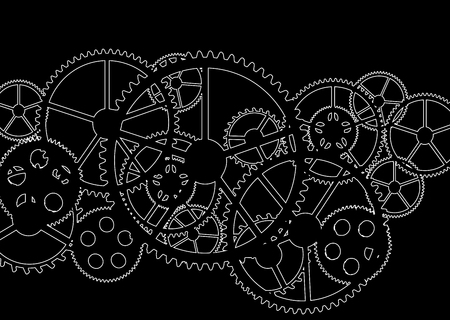 black gears on a black background, vector illustration. Ilustrace
