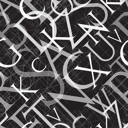 font seamless pattern on a black background, vector illustratuon clip-art Stok Fotoğraf - 114772840
