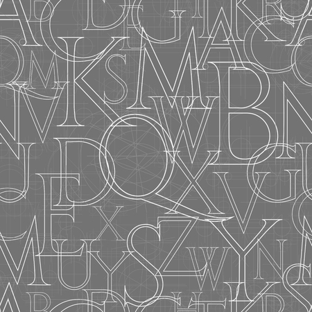 font seamless pattern on a gray background, vector illustratuon clip-art