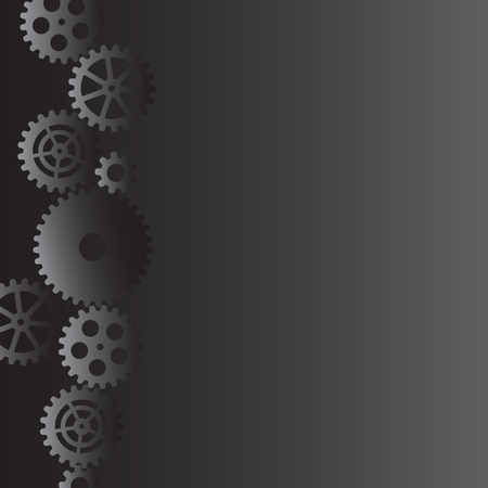 Drawing gears on a gray background, vector illustration clip-art  イラスト・ベクター素材