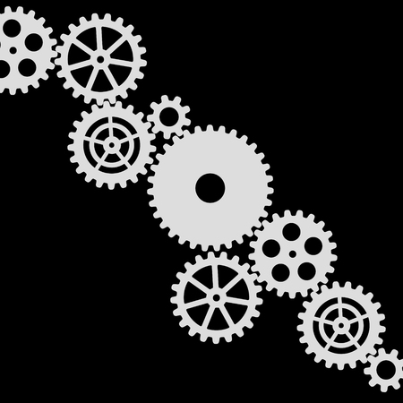 white gears on a black background, vector illustration clip-art  イラスト・ベクター素材