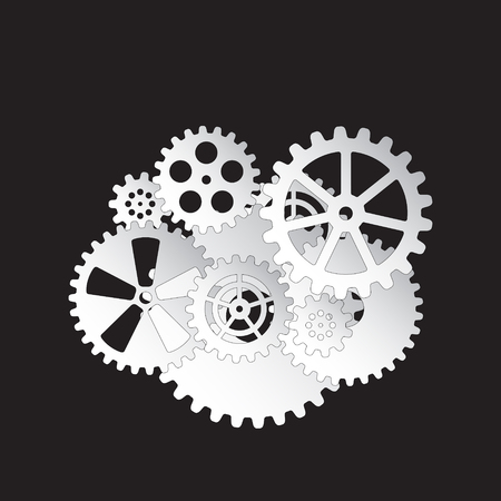 white gears on a black background, vector illustration clip-art Ilustrace